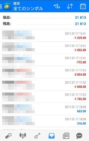 fx自動売買ツールavancer ea2017年7月17日トレード実績