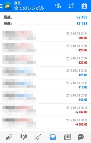 fx自動売買ツールavancer ea2017年7月18日トレード実績