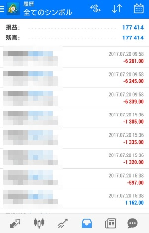 fx自動売買ツールavancer ea2017年7月20日トレード実績