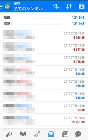 fx自動売買ツールavancer ea2017年7月26日トレード実績