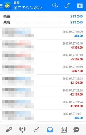 fx自動売買ツールavancer ea2017年7月27日トレード実績
