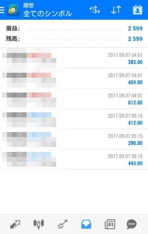 fx自動売買ツールAVANCER EA 2017年9月7日トレード実績