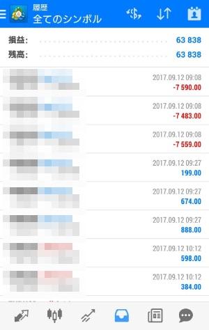fx自動売買ツールAVANCER EA 2017年9月12日トレード実績