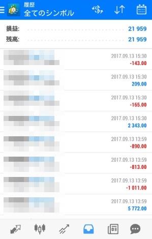 fx自動売買ツールAVANCER EA 2017年9月13日トレード実績
