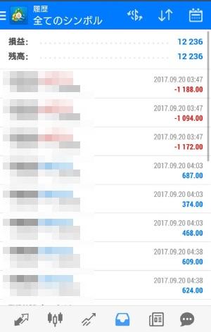 fx自動売買ツールavancer ea 2017年9月20日トレード実績