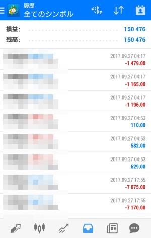 fx自動売買ツールavancer ea 2017年9月27日トレード実績