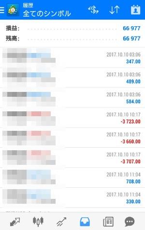 fx自動売買ツールavacer ea 2017年10月10日トレード実績