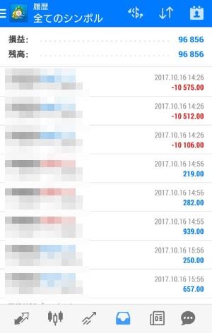 fx自動売買ツールAVANCER EA 2017年10月16日トレード実績