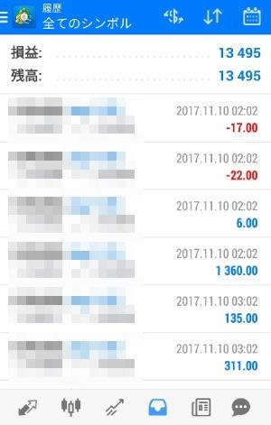 fx自動売買ツールAVANCER EA 2017年11月10日実績
