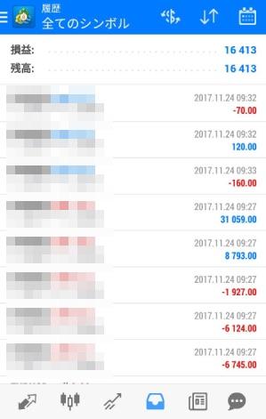 fx自動売買ツールAVANCER EA 2017年11月23日トレード実績
