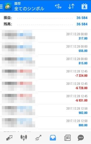 FX自動売買ツールAVANCER EA 2017年12月28日トレード実績