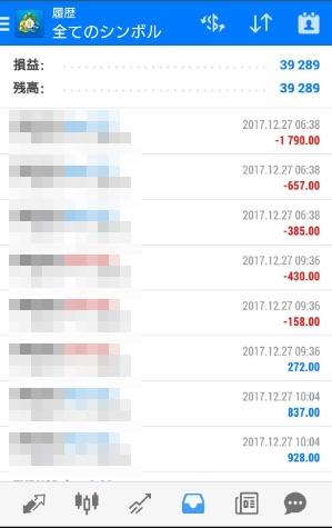 FX自動売買ツールAVANCER EA 2017年12月27日トレード実績