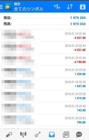 FX自動売買ツール AVANCER EA 2018年1月24日トレード実績