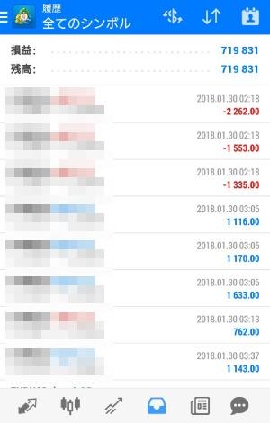FX自動売買ツール AVANCER EA 2018年1月30日トレード実績
