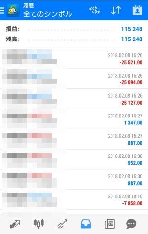 FX自動売買ツールAVANCER EA 2018年2月8日トレード実績
