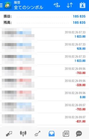 FX自動売買ツール AVANCER EA 2018年2月26日トレード実績