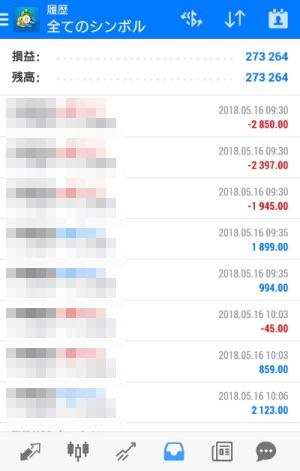 FX自動売買ツール AVANCER EA トレード実績 2018年5月16日